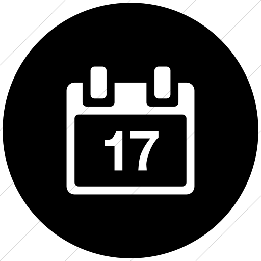 Flat Circle White On Black Broccolidry Calendar Icon