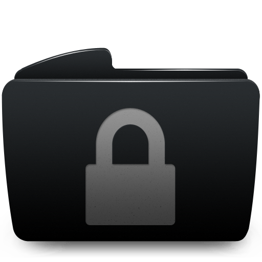 Black, Folder, Lock Icon