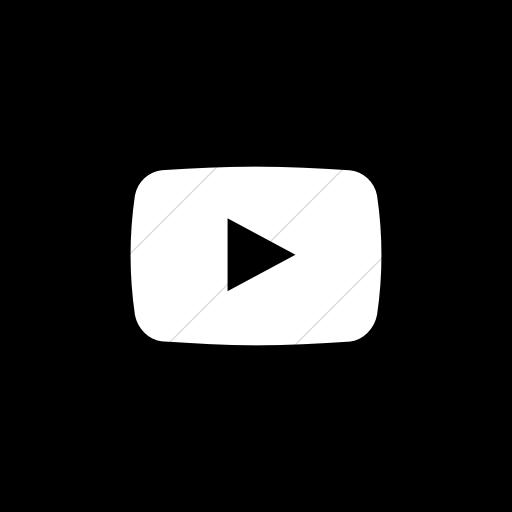 Flat Circle White On Black Social Media Youtube Icon