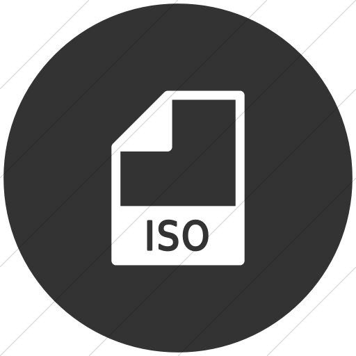Flat Circle White On Dark Gray Mime Types Document Iso Icon