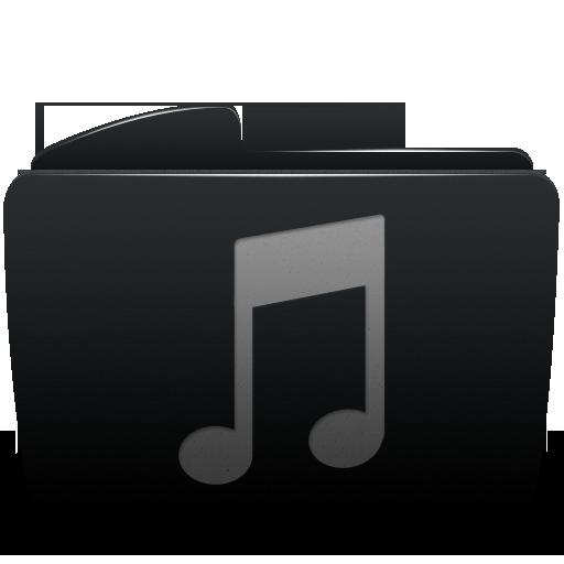 Black, Folder, Itunes, Music Icon