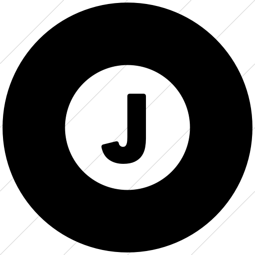Flat Circle White On Black Encircled Solid Capital J Icon