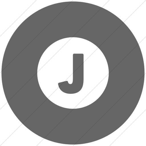 Flat Circle White On Gray Encircled Solid Capital J Icon