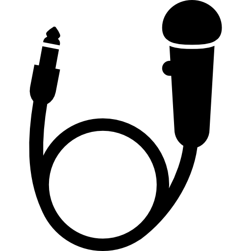 Circular Microphone With Cord And Jack Icons Free Download