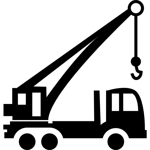 Construction Transport Tool With A Crane Free Vector Icons