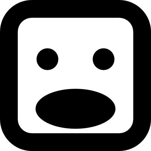 Shock Face Of Square Shape With Opened Oval Mouth Icons Free