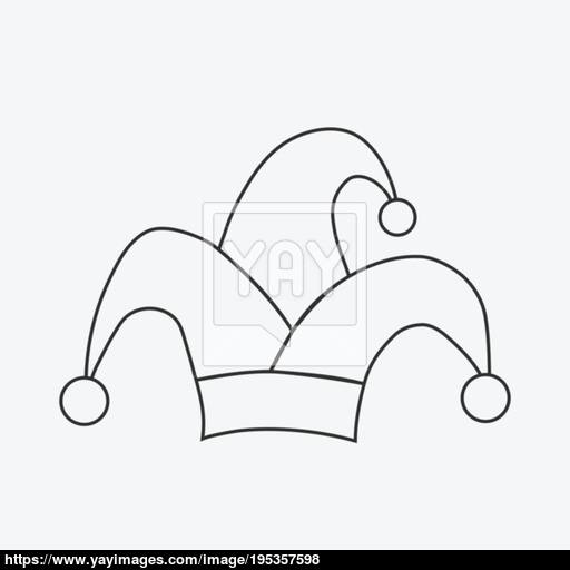 Clown Jester Hat Flat Black Outline Design Icon Vector