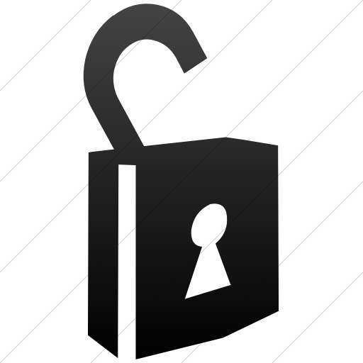 Simple Black Gradient Classica Unlocked Padlock