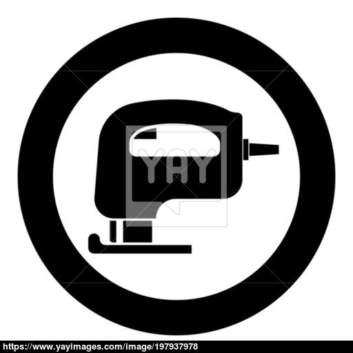 Fretsaw Electric Keyhole Saw Icon Black Color Vector Illustration