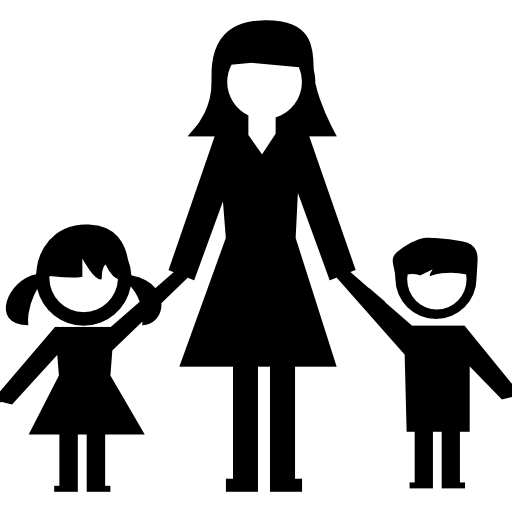 Woman With Kids Icons Free Download