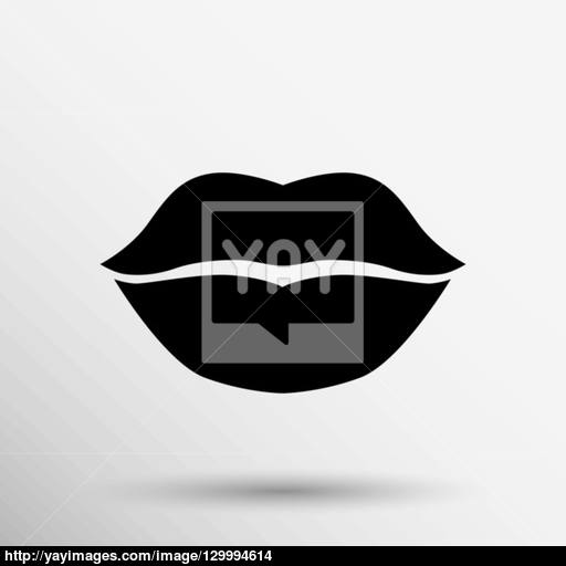 Kiss Lips Vector Lipstick Icon Passion Symbol People Female Vector