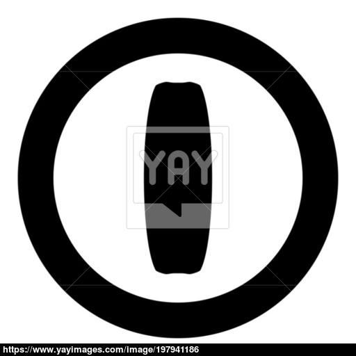 Board For Kiteboard Sport Icon In Round Black Color Vector