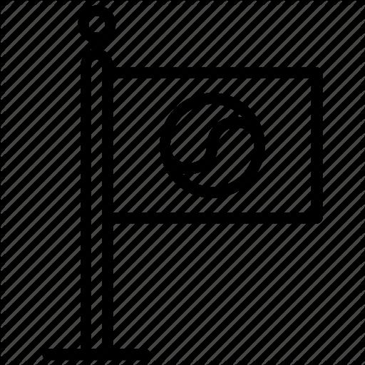 Flag, Fluttering Flag, Korea Flag, Korea Symbol, Korean Logo Icon