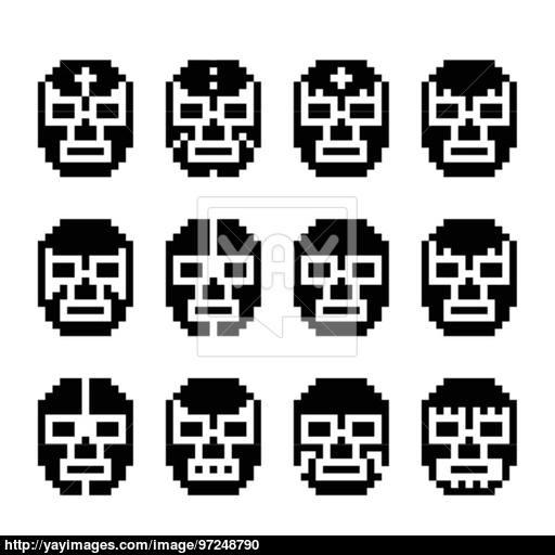 Lucha Libre, Luchador Pixelated Mexican Wrestling Masks Black