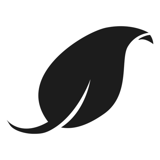 Curved Tip Leaf Black Icon
