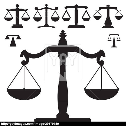 Scales Of Justice Vector Silhouettes Vector
