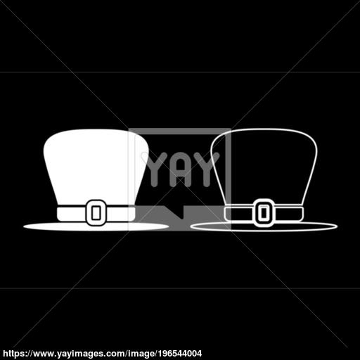 Hat Leprechaun Icon Set White Color Illustration Flat Style Simple