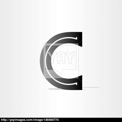 Black Letter C Font Icon Design Vector