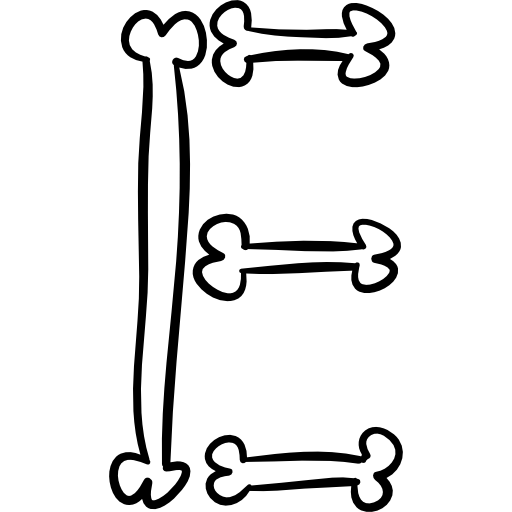 Letter E Of Bones Outlined Typography Of Halloween Icons Free