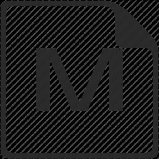 Doc, File, Key, Latin, Letter, M Icon