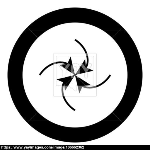 Four Arrows In Loop In Center Black Icon In Circle Vector
