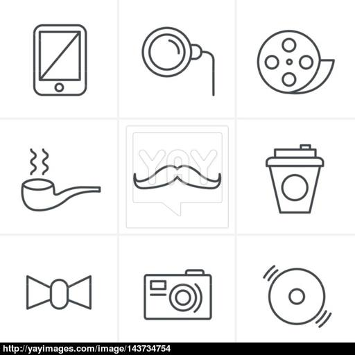 Line Icons Style Hipster Retro Vintage Elements Modern Icon Set