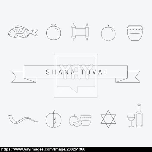 Rosh Hashanah Holiday Flat Design Black Thin Line Icons Set