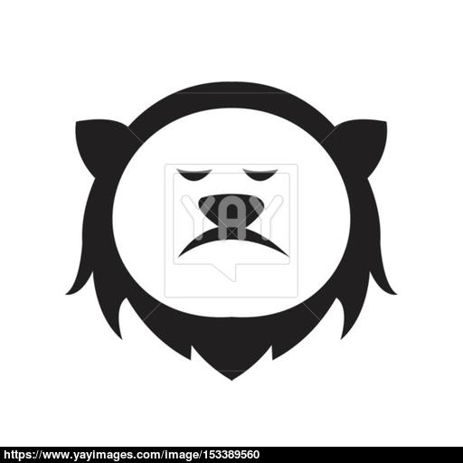 Lion Head Logo Cartoon Style Vector