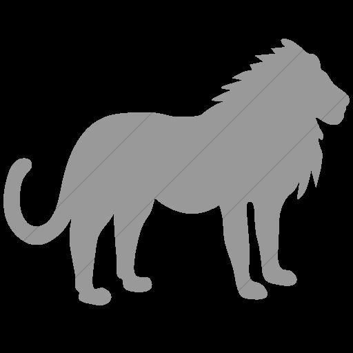 Simple Light Gray Animals Lion Icon