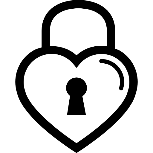 Heart Shaped Lock Outline Icons Free Download