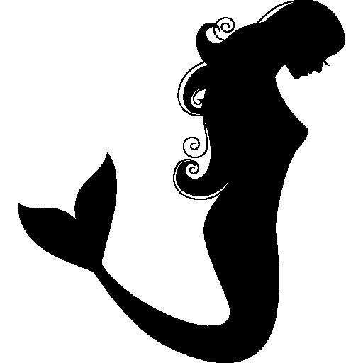 Mermaid Side View Silhouette