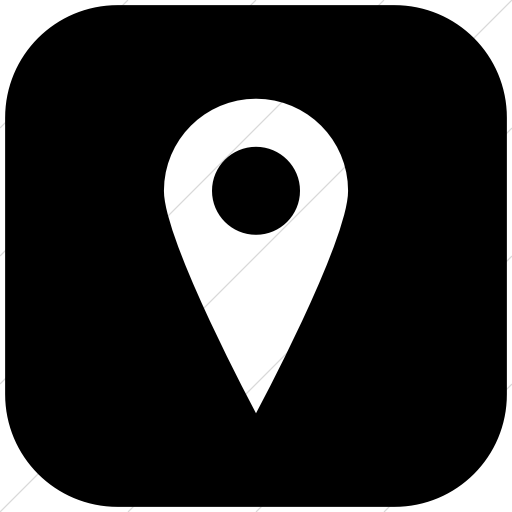 Flat Rounded Square White On Black Raphael Location Icon