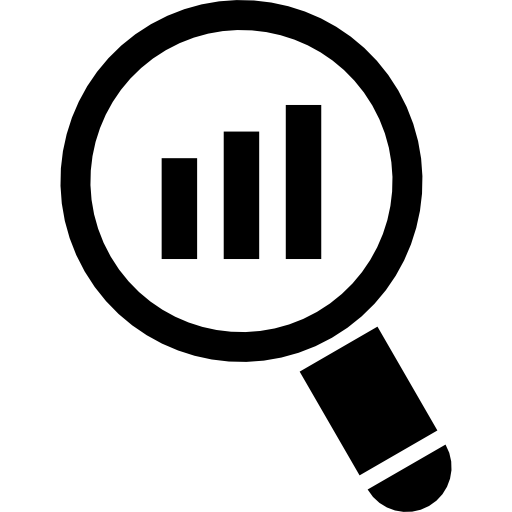 Magnifying Glass With Bar Graph Icons Free Download