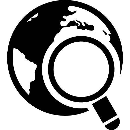 World With Magnifying Glass Icons Free Download