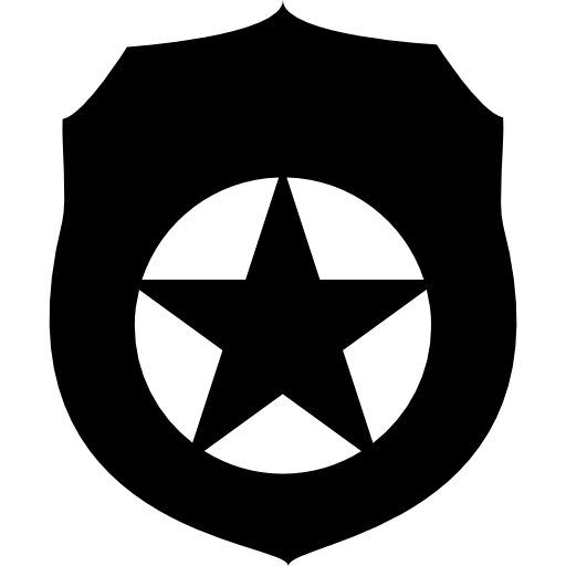 Security Badge With Fivepointed Star Icons Free Download
