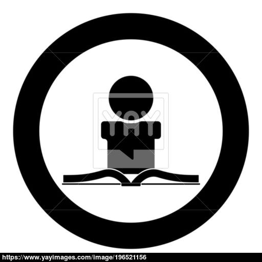 Man Reading Book Icon Black Color In Circle Vector