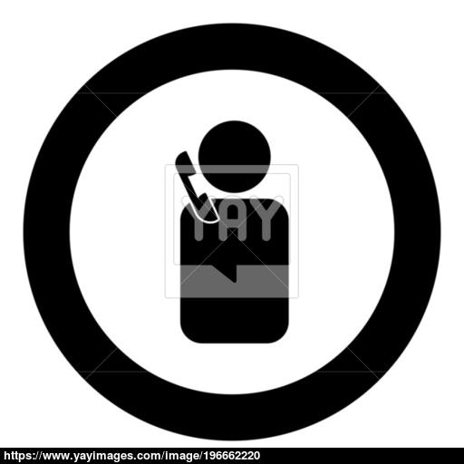 Man With Telephone Black Icon In Circle Vector