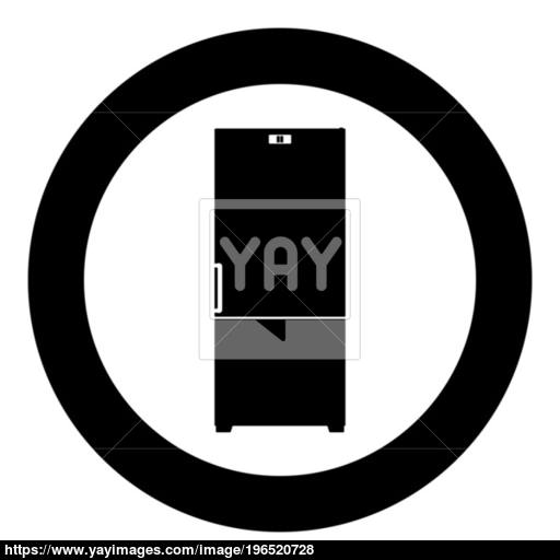 Refrigerator Icon Black Color In Circle Vector