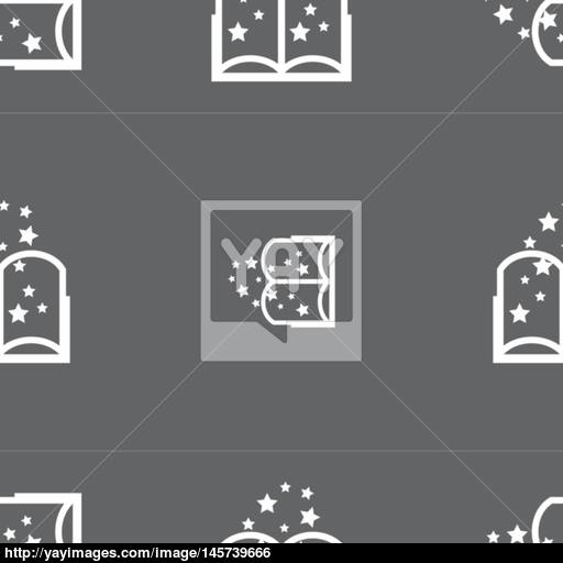 Magic Book Sign Icon Open Book Symbol Seamless Pattern On A Gray