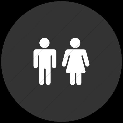 Flat Circle White On Dark Gray Foundation Male Female