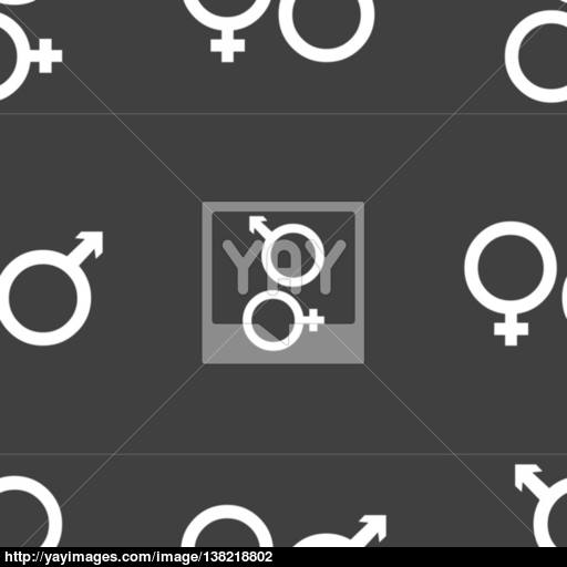 Male And Female Icon Sign Seamless Pattern On A Gray Background