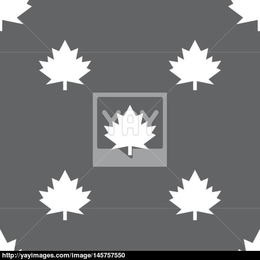 Maple Leaf Icon Seamless Pattern On A Gray Background Vector