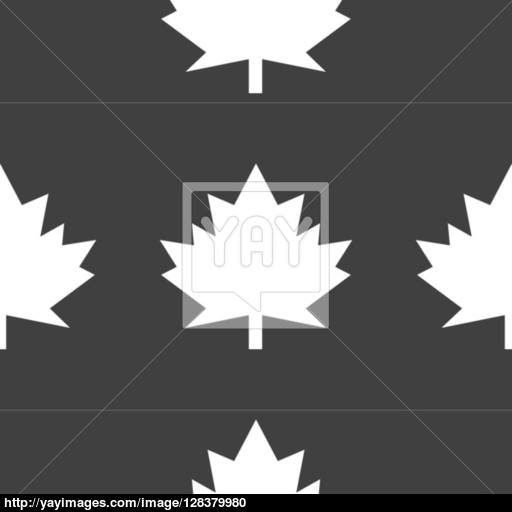 Maple Leaf Wb Icon Flat Design Seamless Gray Pattern Vector