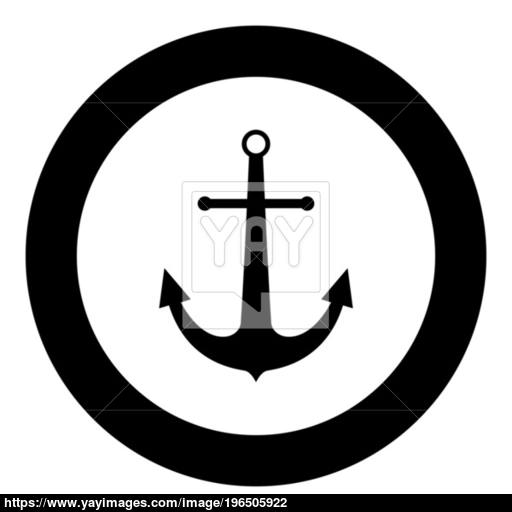 Marine Anchor The Black Color Icon In Circle Or Round Vector