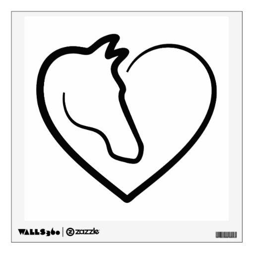 I Love Horses, Heart With Horse Head Wall Decal