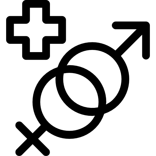 Masculine And Feminine Genders Symbols With A Plus Sign Icons