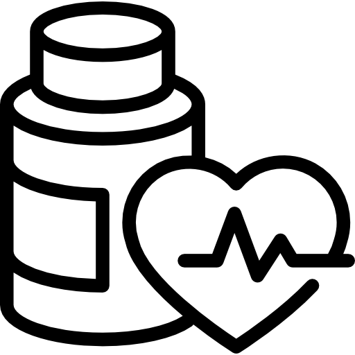 Medication Bottle Outline And Heart With Life Line Icons Free