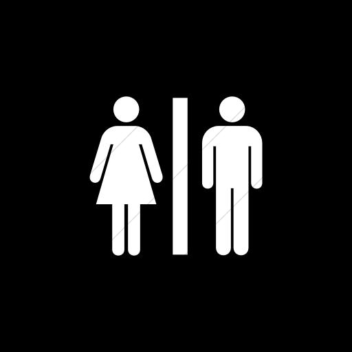 Flat Square White On Black Aiga Toilets Icon