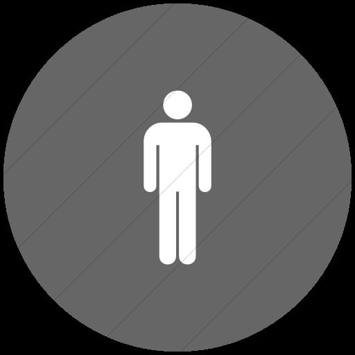 Flat Circle White On Gray Aiga Toilets Men Icon