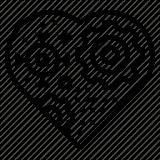 Gear, Heart, Metal, Robot Icon